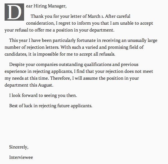 Cadbury responds to unsuccessful job application Funny - employment rejection letter