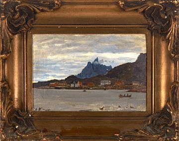 ADELSTEEN NORMANN BODIN 1848 - CHRISTIANIA 1918  Fishing Village in northern Norway, 1883  Oil on cardboard pasted on board, 22x33 cm (L)  Signed with initials and dated lower left: AN 1883