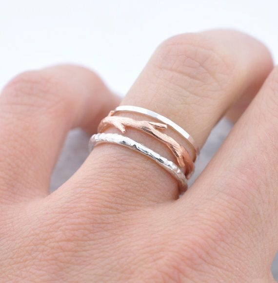 rose gold twig ring and silver bands by colby june