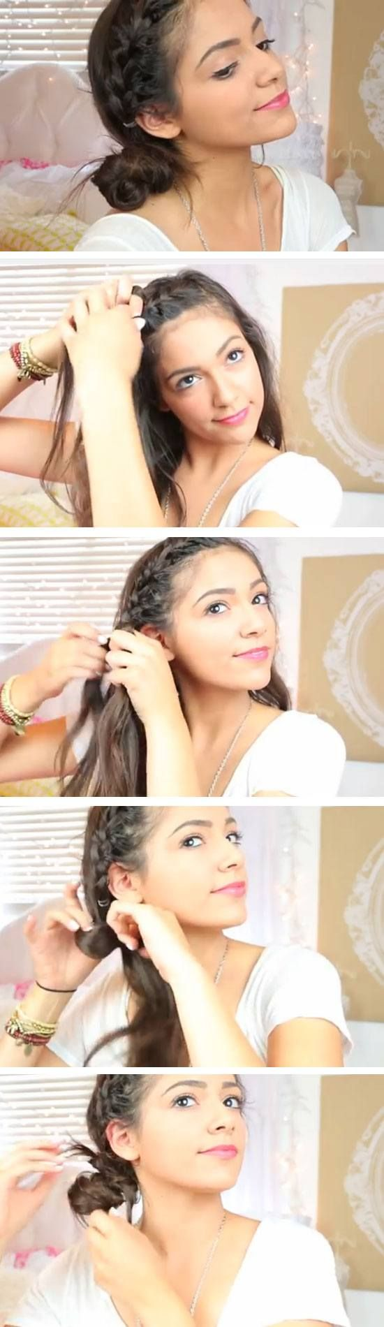 Easy DIY Hairstyles for The Beach | French Braided Side Bun