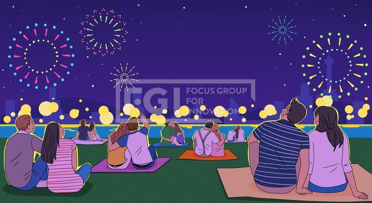 SPAI215, 프리진, 일러스트, 이벤트, 축제, 행사, 여름, 가을, 페스티벌, 단체, 그룹, 사람, 캐릭터, 남자, 여자, 중년, 청년, 공연, 어른, 계절, 파티, 콘서트, 휴가, 포스터, 컬러풀, 개인, 집단, 불꽃놀이, 저녁, 한강, 잔디밭, 키스, 밤풍경, 조명, 화려함, 앉아있는, 하늘, 별, 건물, 호수, 강, 고수부지, 산, 언덕, 보라색, 파란색, 노란색,#유토이미지