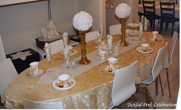 Gold and white boho baby shower high tea table styled by www.tickledpinkcelebrations.com.au