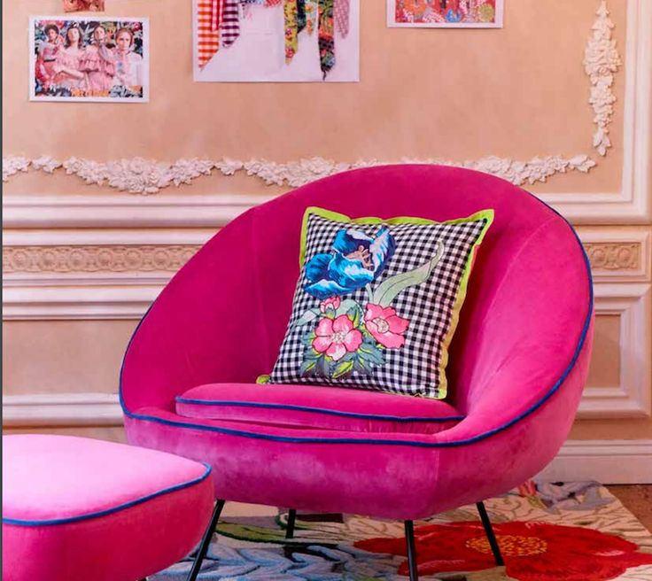 House of Holland x Habitat's new collection brings bold florals and fluoro style. Misty - an elegant armchair and matching footstool given a distinctive House of Holland update in hot pink with blue velvet piping. The perfect spot to put your feet up, sip a Manhattan and listen to Ella Fitzgerald sing her heart out.