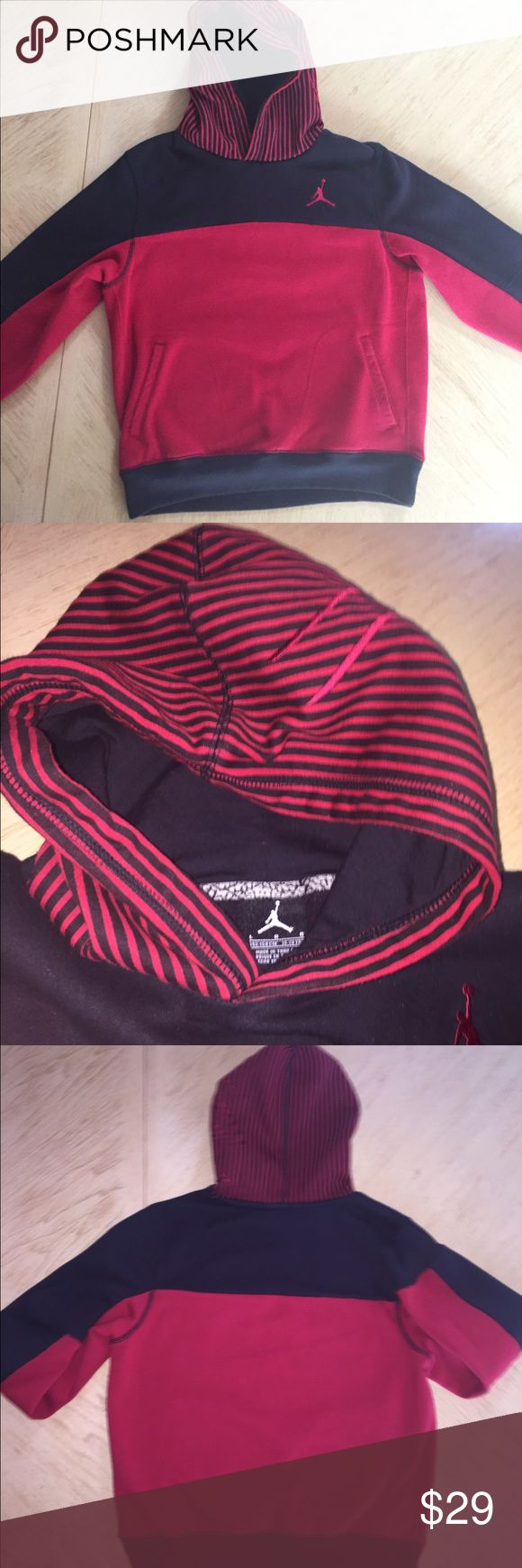 Boy's Jordan Hoodie Black & Red Boys Sz Large Jordan Hoodie, With Detail Design Hood. In Excellent Used Condition. Worn & Washed Once. More Pics Upon Request. Please Ask Questions Before Purchasing! Thanks for Browsing & Happy Poshing! ❤️🦋🦋 Jordan Shirts & Tops Sweatshirts & Hoodies