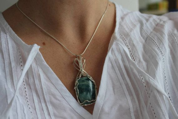 Ocean Jasper Necklace Pendant Wire Wrapped Sterling by storyleaf, $59.00