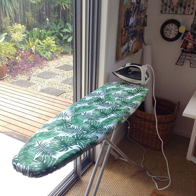 This mornings little sewing project. A tropical ironing board cover for my trusty ironing board. My sewing room is slowly being revamped for function and beauty. Now to sew some custom orders.  #ironingboardcover #tropicalstyle #🌴🌴 #sewingproject #sewingroom