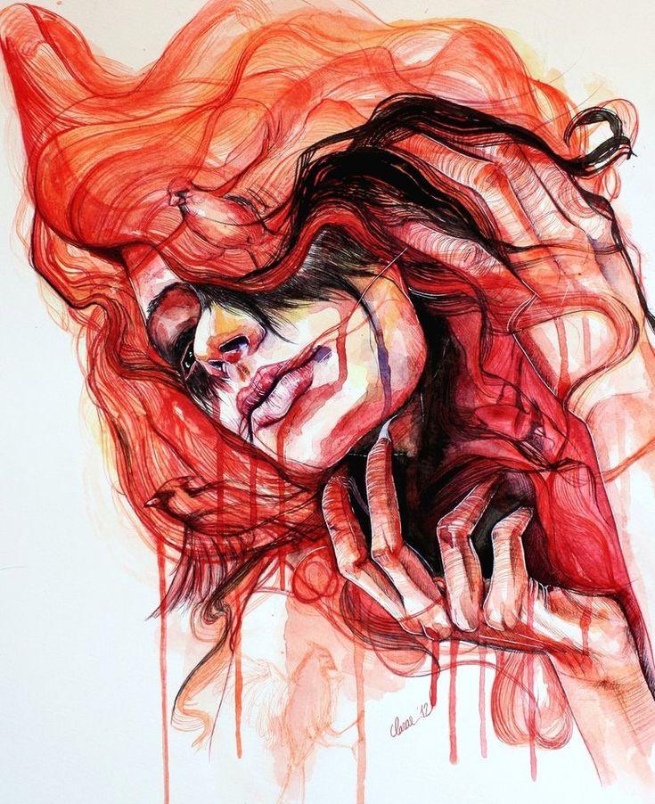 Life is a Danceable TragedyInspiration, Cardinal Birds, Illustration, Cardinals Birds, Art, Chiara Aim, Mixed Media Painting, Redheads, Black