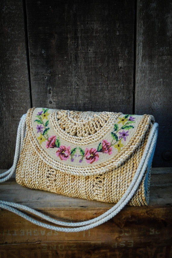 Vintage 70s Straw and Needle Point Purse by BareBottomVintage, $19.00