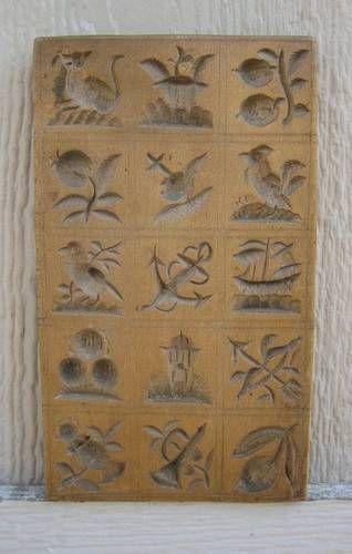 Antique Fruitwood 15 Field Springerle Cookie Mold Fox, Bird, Ship, Fruit c.1860