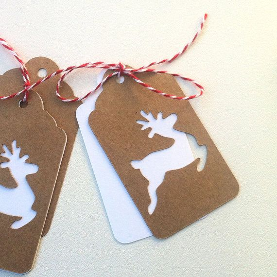 Christmas reindeer gift tags. Swing tags/hanging gift tags. Natural brown kraft.