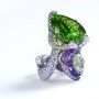 'Nuwa,' by Wallace Chang, featuring a 43.18-ct. peridot, an amethyst and diamonds - photo via Wallace Chan