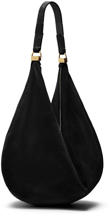 $2,300, The Row Sling 12 Suede Hobo Bag Black. Sold by Neiman Marcus. Click for more info: https://lookastic.com/women/shop_items/245299/redirect
