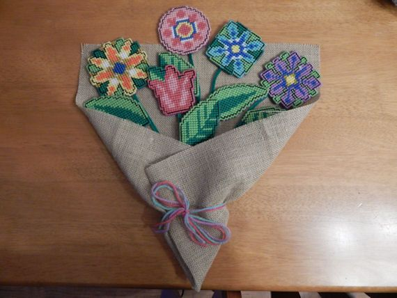 Plastic Canvas Burlap Bouquet Wall Hanging by QuietBendCreations on Etsy