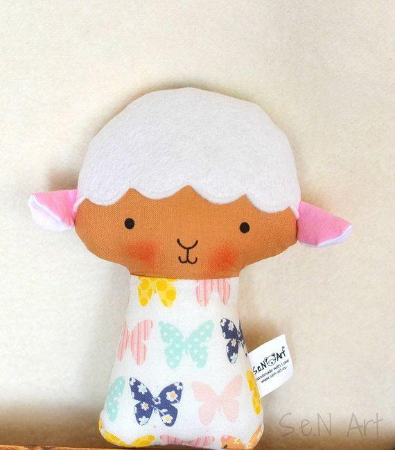 Soft Baby Rattle Lamb Fabric Rattle Baby Sheep Rattle by SenArt1