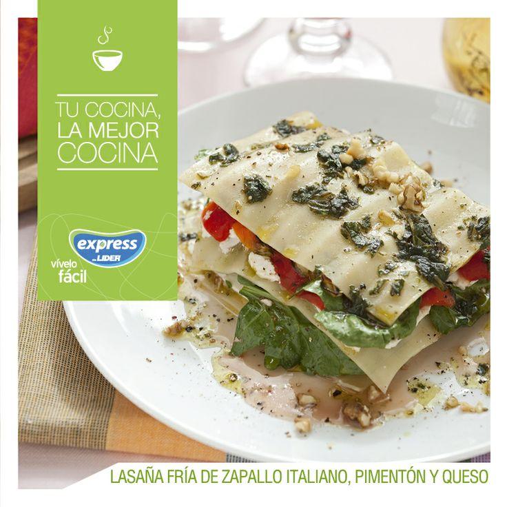 Lasaña fría de zapallo italiano, pimentón y queso. #Pastas #Recetario #RecetarioExpress #Lider