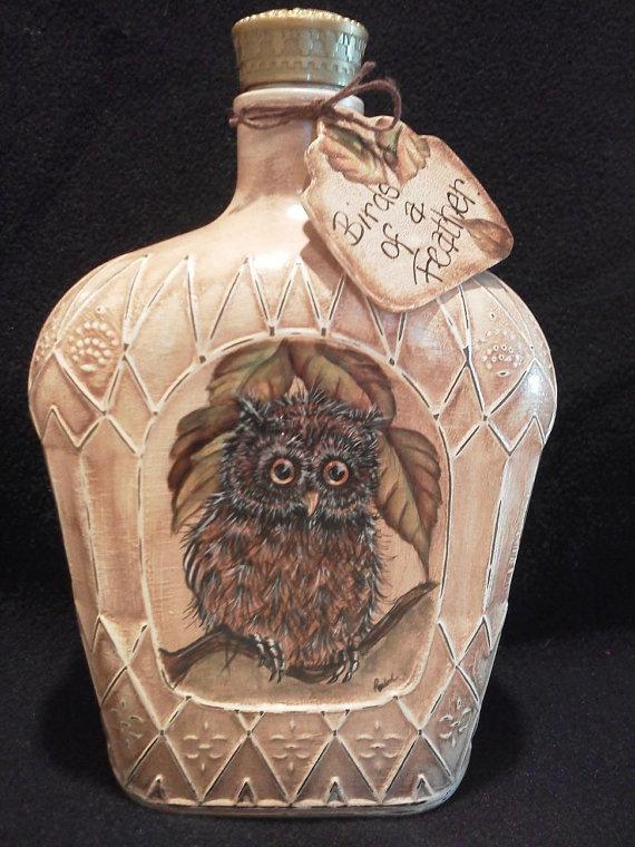 Handpainted Crown Bottle NIght Light by rachelsink on Etsy, $35.00