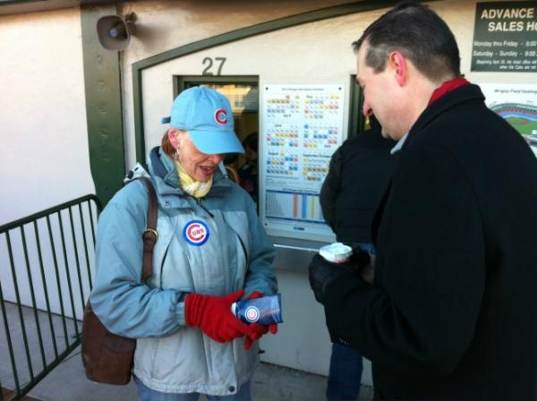#Cubs Chairman Tom Ricketts speaks with Carole, the first fan to buy tickets at Wrigley Field this morning (March 9, 2012).  from @cubsWrigley Field