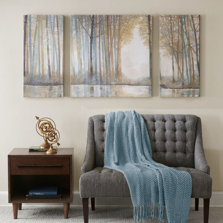Forest Reflections is a three piece that includes one 30x30 inches and two 15x30 inches panels. This beautiful set features a soft yet colorful forest setting. The art is printed on canvas and lightly gel coated for texture.