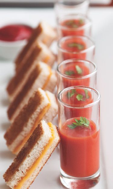20 Mouthwatering Miniature Food Ideas: mini grilled cheese and tomato soup shooters