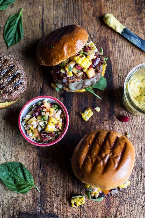 Recipe: Brie Stuffed Burgers with Sweet Chili Mayo + Corn Salsa
