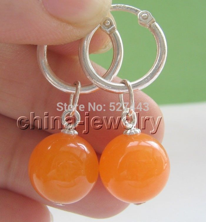 Wholesale free shipping >>>12mm perfect round orange stone earring #Affiliate