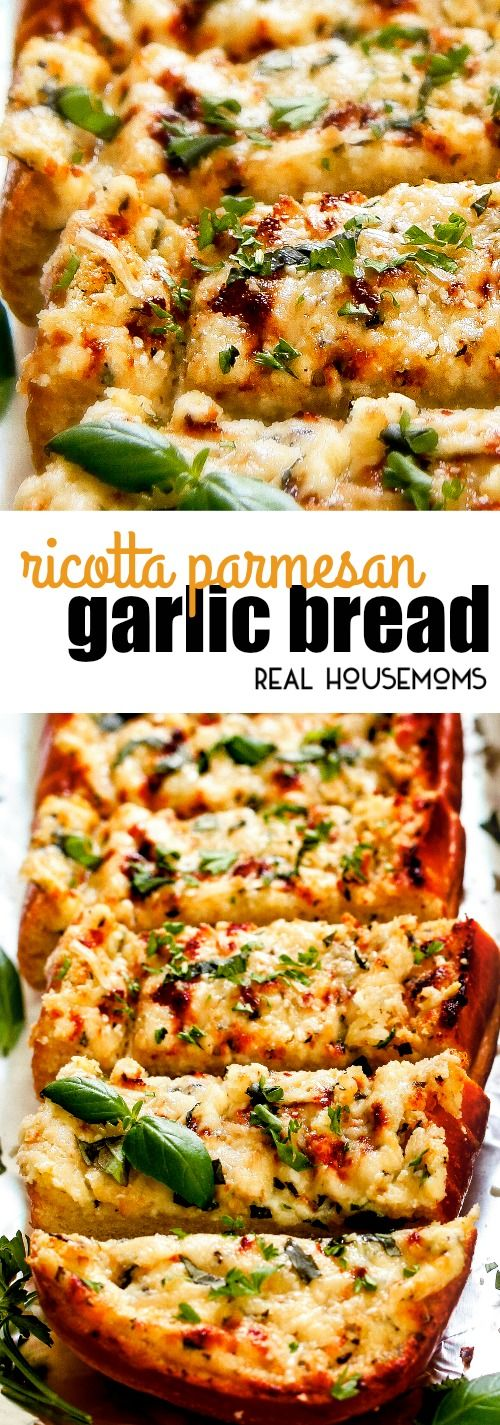 This easy Ricotta Parmesan Garlic Bread will become a new favorite of everyone and for all occasions! via @realhousemoms