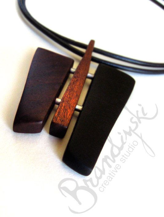 WOODEN JEWELRY - Original Handmade Wooden Necklace - black ebony, exotic rose wood, aluminium  elements, 3mm double leather cord. €55,00, via Etsy.