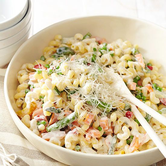 You can make this easy pasta recipe your own with whatever mix of frozen vegetables you want: http://www.bhg.com/recipes/vegetable/10-surprising-things-to-do-with-frozen-vegetables/?socsrc=bhgpin083114plainpasta&page=7