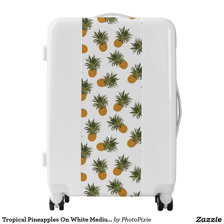 Tropical Pineapples On White Medium Luggage
