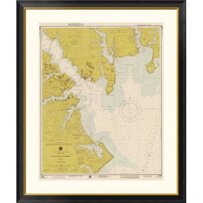 """Global Gallery Nautical Chart - Annapolis Harbor ca. 1975 - Sepia Tinted Framed Graphic Art Size: 26"""" H x 23"""" W x 1.5"""" D"""