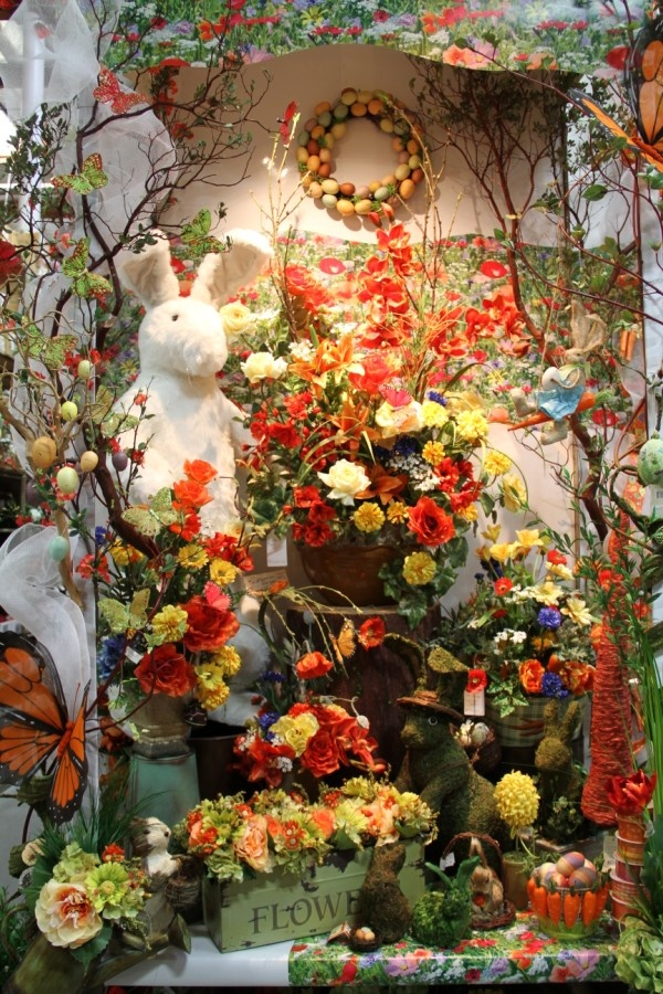 I called this one 'Woodsy Easter' when I looked at it.  It has some of our moss-covered and brown bunnies.  Oh yeah, and one giant white bunny.  Easter decorations aren't quite complete without a giant white bunny.