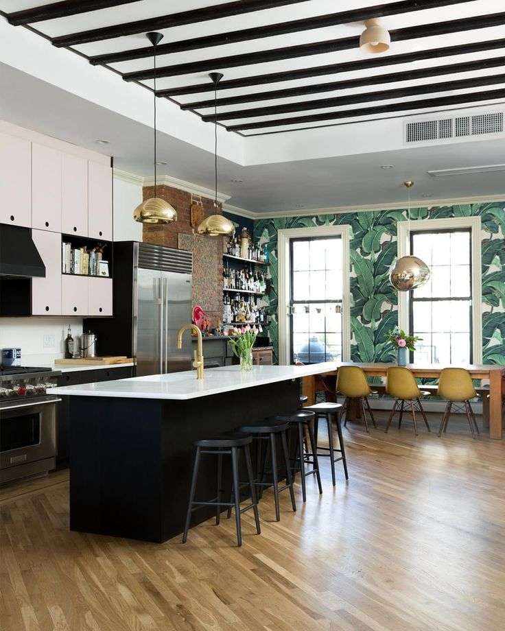 """Homepolish Brooklyn Apartment Design With Cool Wallpaper: Apartment Therapy On Instagram: """"This Unique Space In"""
