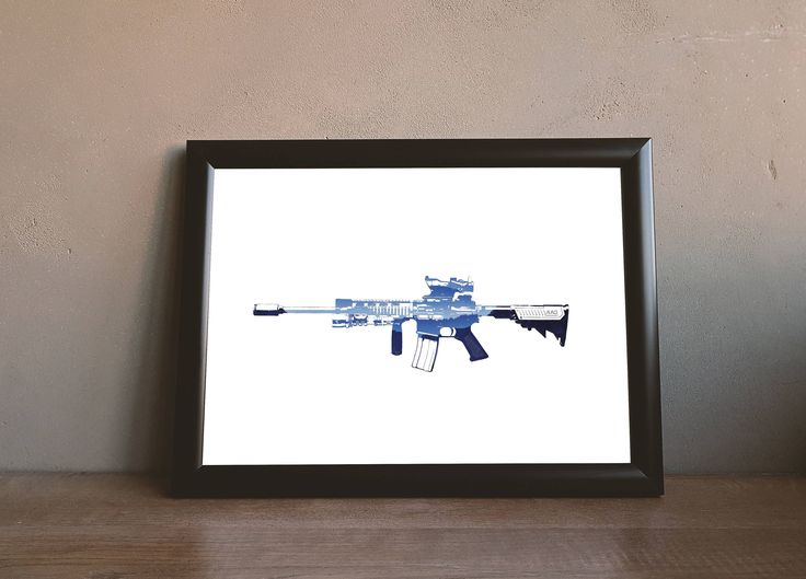Printable M4 Carbine Gun Wall Art by PlatinumRoom on Etsy