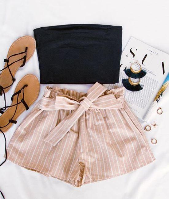 Festive Ready Stripe Shorts – Taupe – Josie