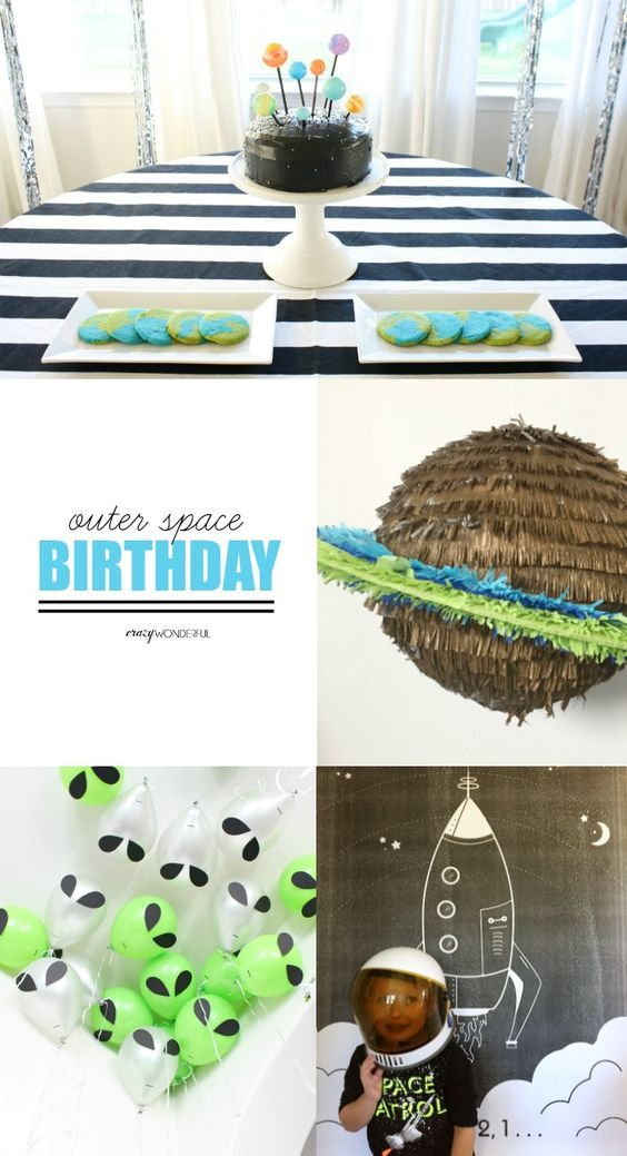Crazy Wonderful: outer space theme birthday party, kid's birthday party ideas, boy birthday party, space, aliens, rocketship, planets