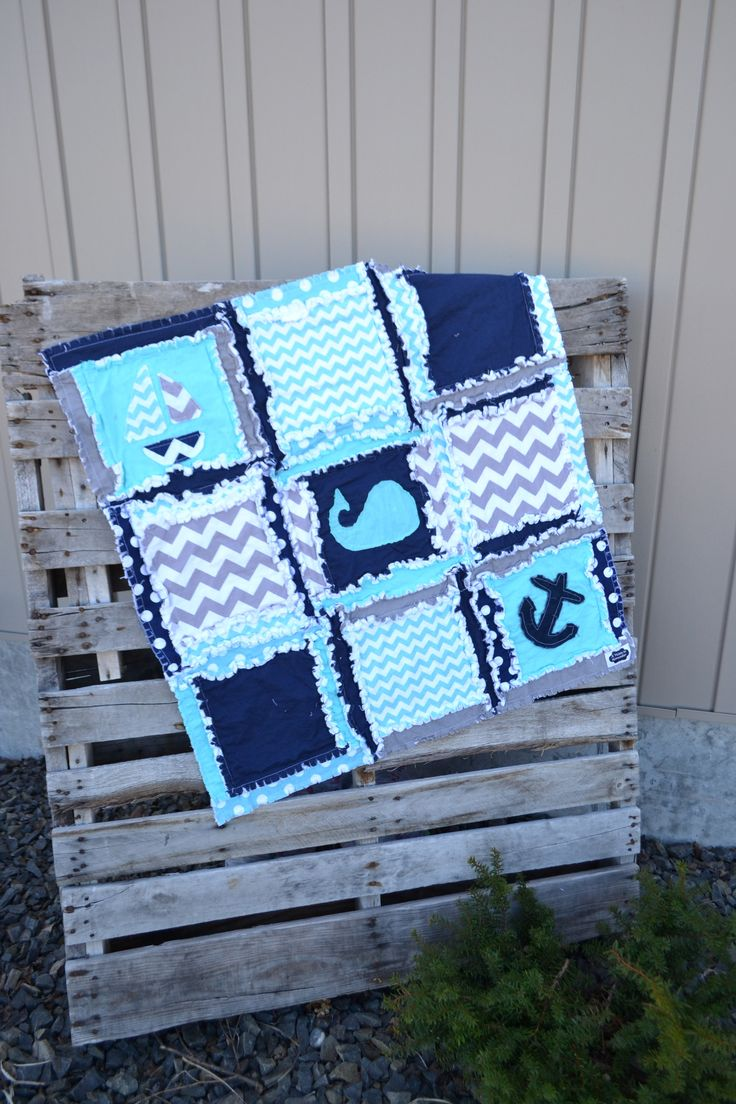 Custom handmade nautical crib set in aqua blue, navy blue, gray. Baby boy crib bedding with Whales, sailboats, and Anchors. The modern Nautical baby bedding features: - All fabrics that are 100% Cotto