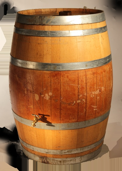 Wooden Rain Barrels made from Used Napa Valley Wine Barrels - Really cool for gardening