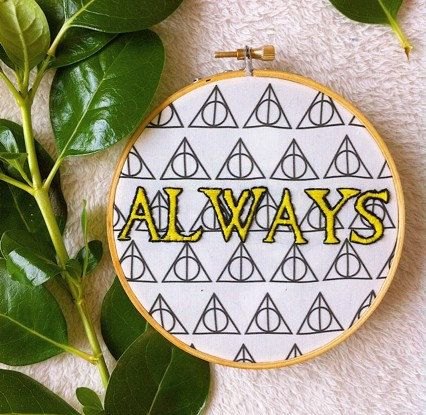 Harry Potter embroidery hoop art / Always by Petricorembroidery
