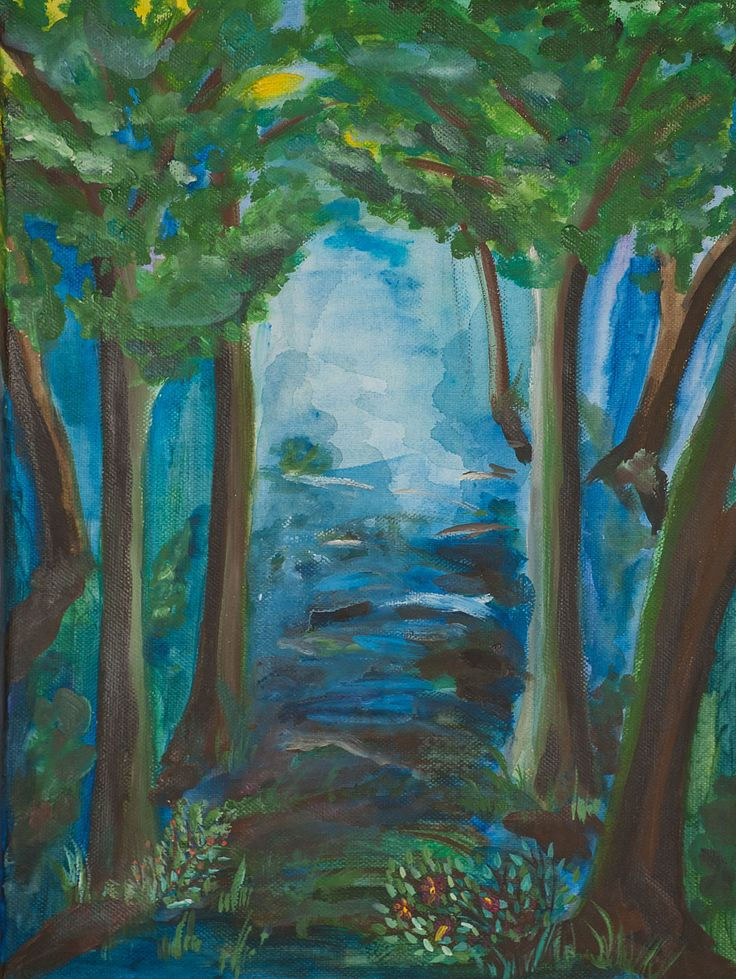 My blue forest and my original painting on canvas by ludmilu on Etsy