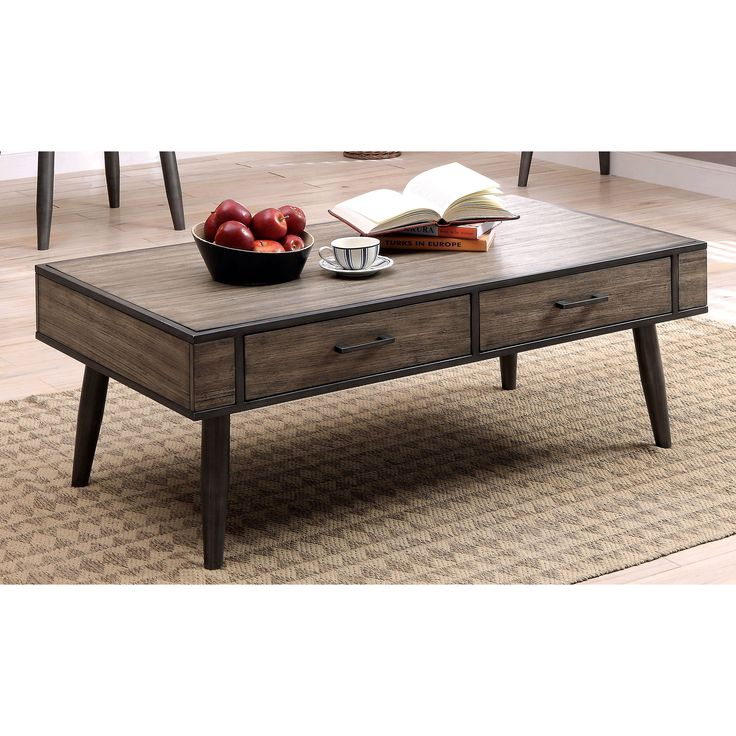 Furniture of america bradensbrook mid century modern industrial style metal 2 drawer coffee Industrial metal coffee table
