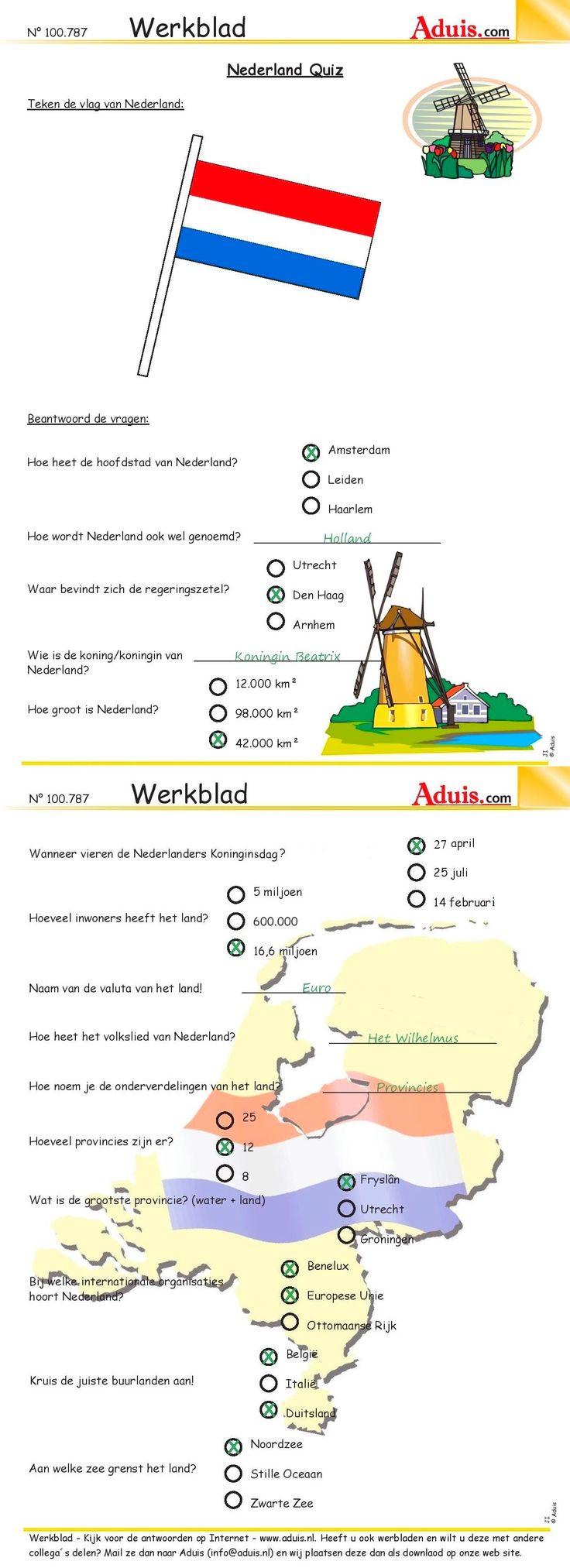 Werkblad : Nederland Quiz - OPLOSSINGEN