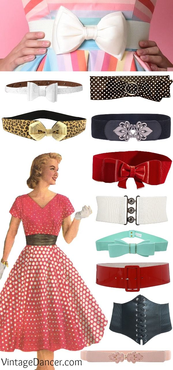 Vintage belts: wide belts, cinch belts, skinny belts, bow belts, pinup belts