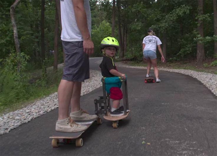 LeLongboard Sidecar est unexcellent concept qui permet aux parents aventureux de faire du skate avec unenfant en bas âge ! Une idée brillante imaginée