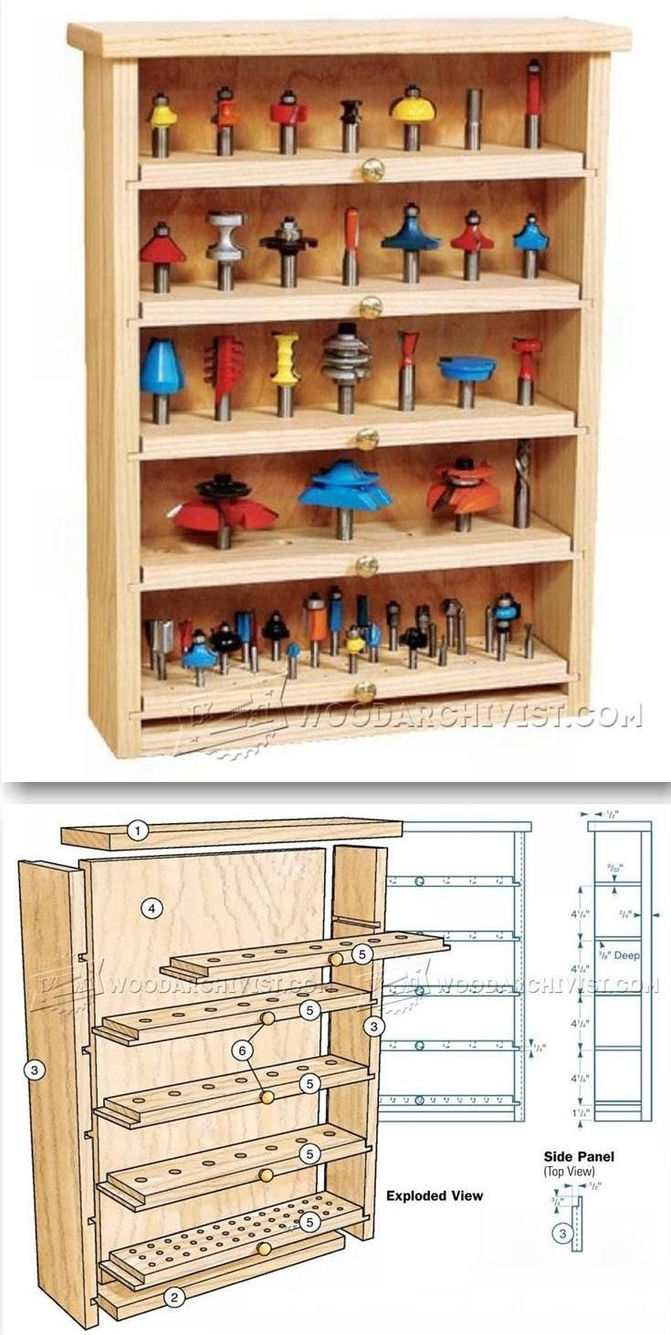 Router Bit Cabinet Plans - Router Tips, Jigs and Fixtures  | WoodArchivist.com