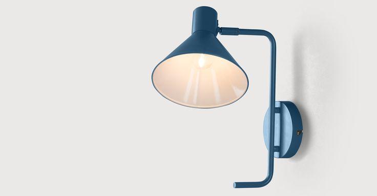 Truman Task Wall Lamp, Matt Memphis Blue