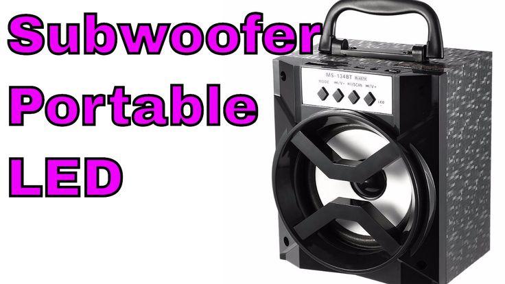 Haut Parleur LED Subwoofer Bluetooth sans Fil USB avec Radio FM Stereo F...
