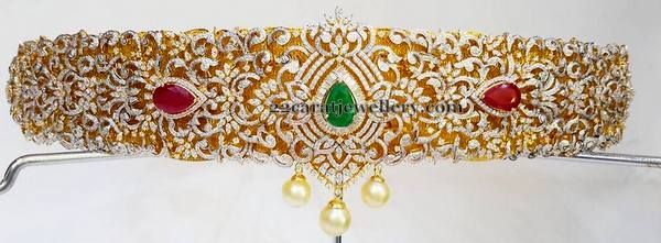 Jewellery Designs: Grand Diamond Vaddanam