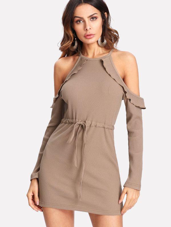 Flounce Detail Cold Shoulder Drawstring Waist Dress -SheIn(Sheinside)