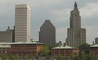 The skyline of Providence, as viewed from the northwest looking southeast, from left to right: One Financial Center, 50 Kennedy Plaza, and the Bank of America Tower