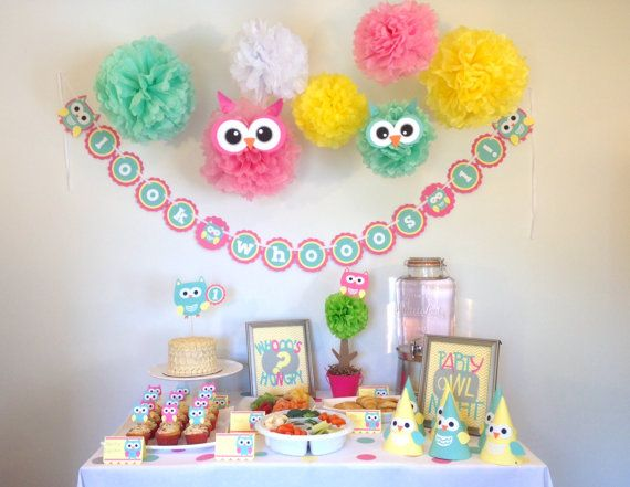 Custom Owl Theme Happy Birthday Party-In-A-Box Party by JaeMakes on Etsy.  Visit www.etsy.com/shop/jaemakes